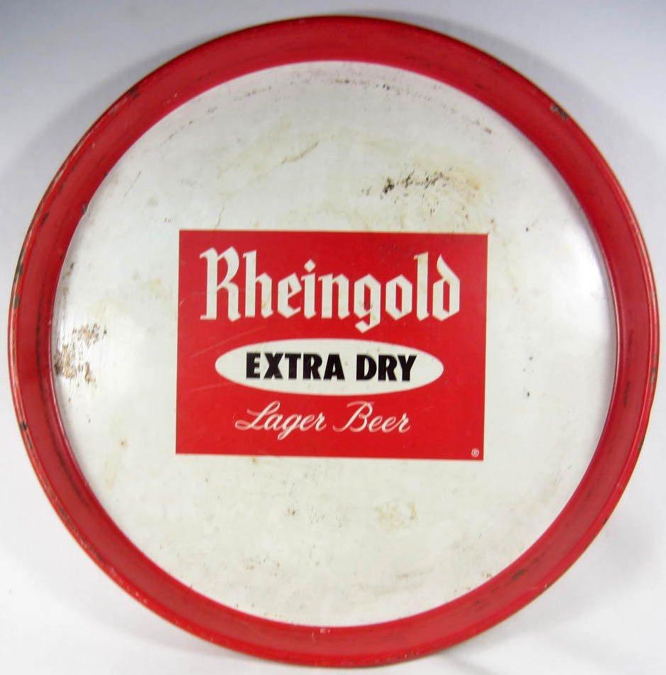 3: VINTAGE RHEINGOLD LAGER BEER METAL ADVERTISING TRAY