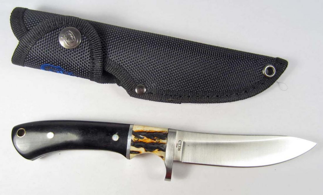 5: COLT HUNTING KNIFE W/ STAG AND BLACK WOOD HANDLE AND