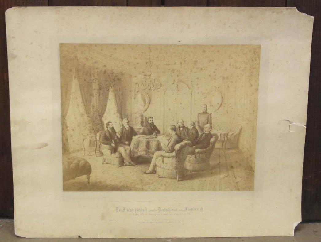 12: 1878 GERMAN PRINT OF MEN AT A MEETING