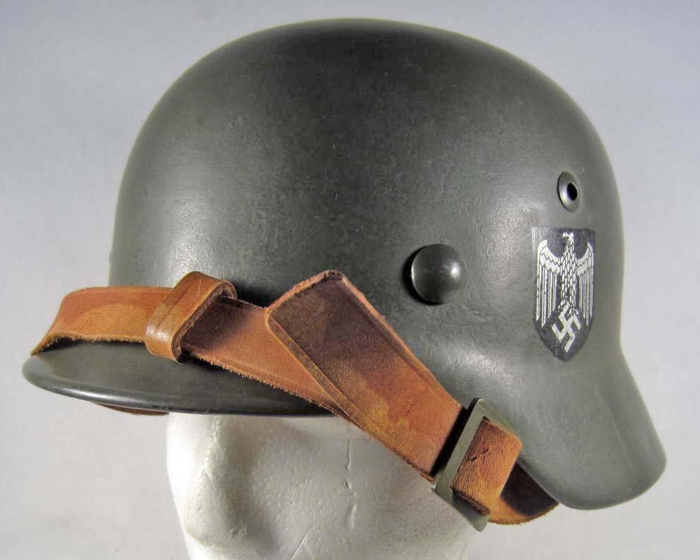 21: GERMAN NAZI ARMY M-35 DOUBLE DECAL COMBAT HELMET