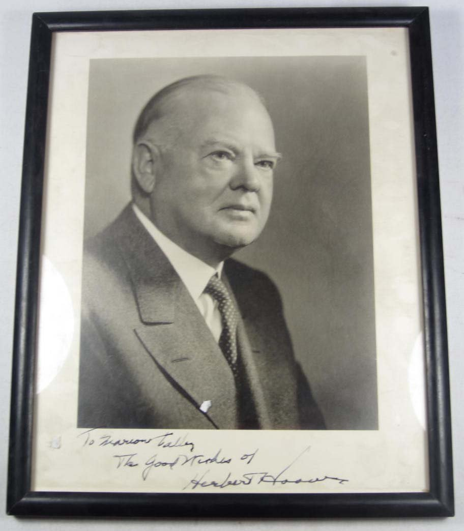 8: PRESIDENT HERBERT HOOVER AUTOGRAPHED PHOTO - FRAMED