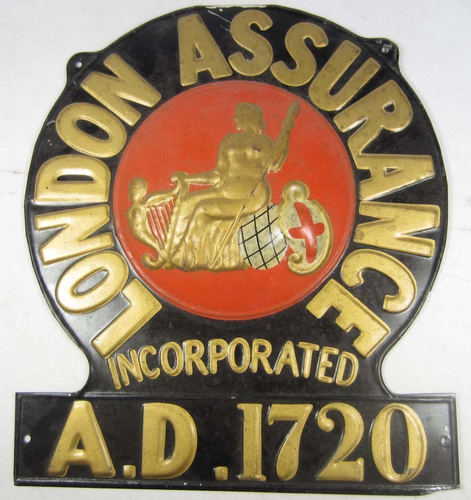 9: C. 1920'S LONDON ASSURANCE METAL ADVERTISING SIGN