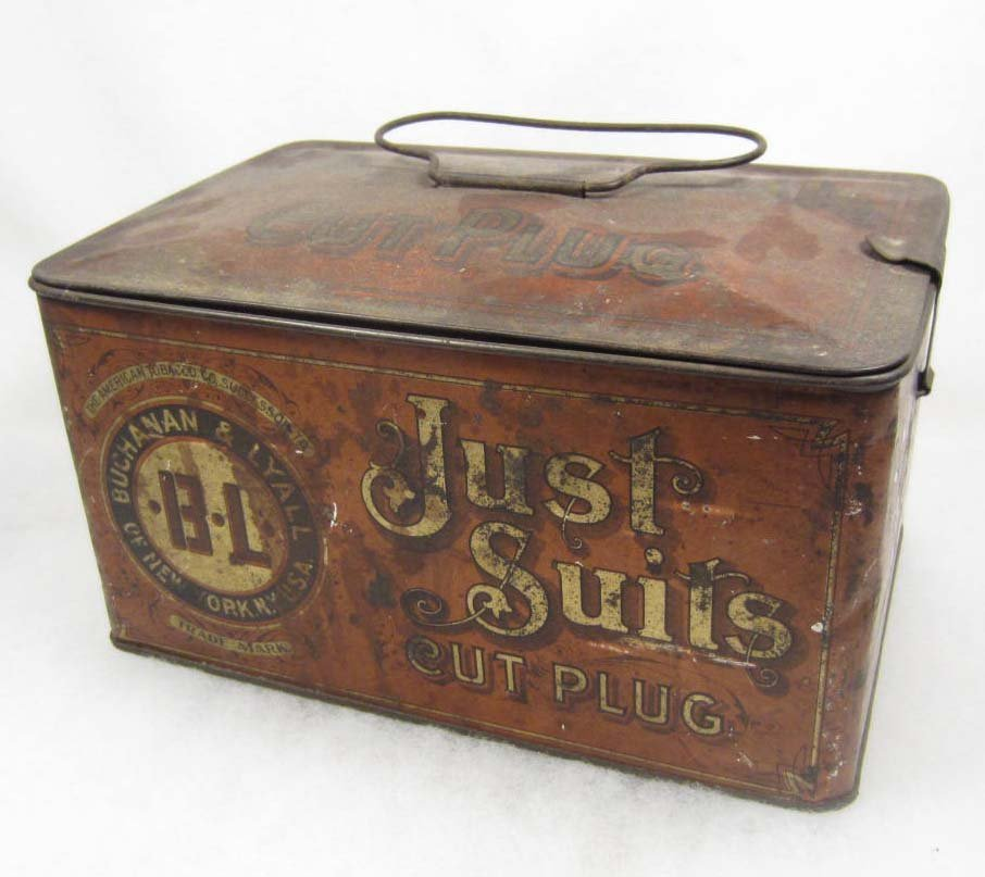 10: ANTIQUE JUST SUITS CUT PLUG TOBACCO TIN BY BUCHANAN