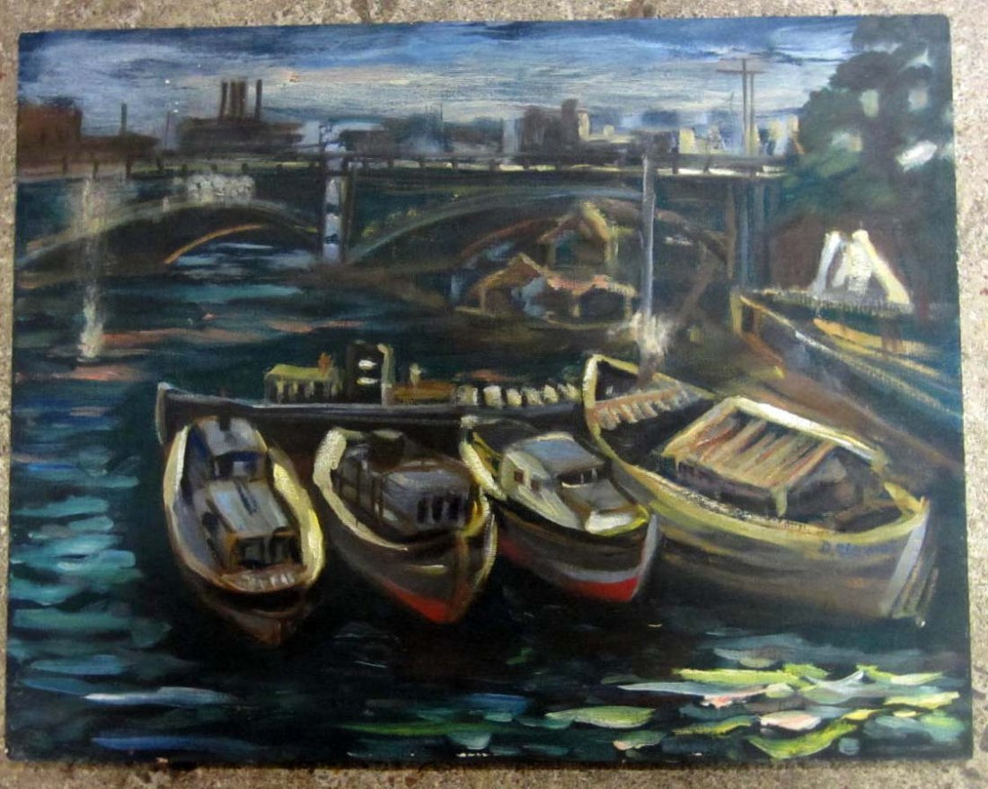 6: SIGNED PAINTING OF BOATS IN A HARBOR - D. STEWART