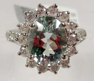 7: 14K WHITE GOLD LADIES AQUAMARINE AND DIAMOND RING -
