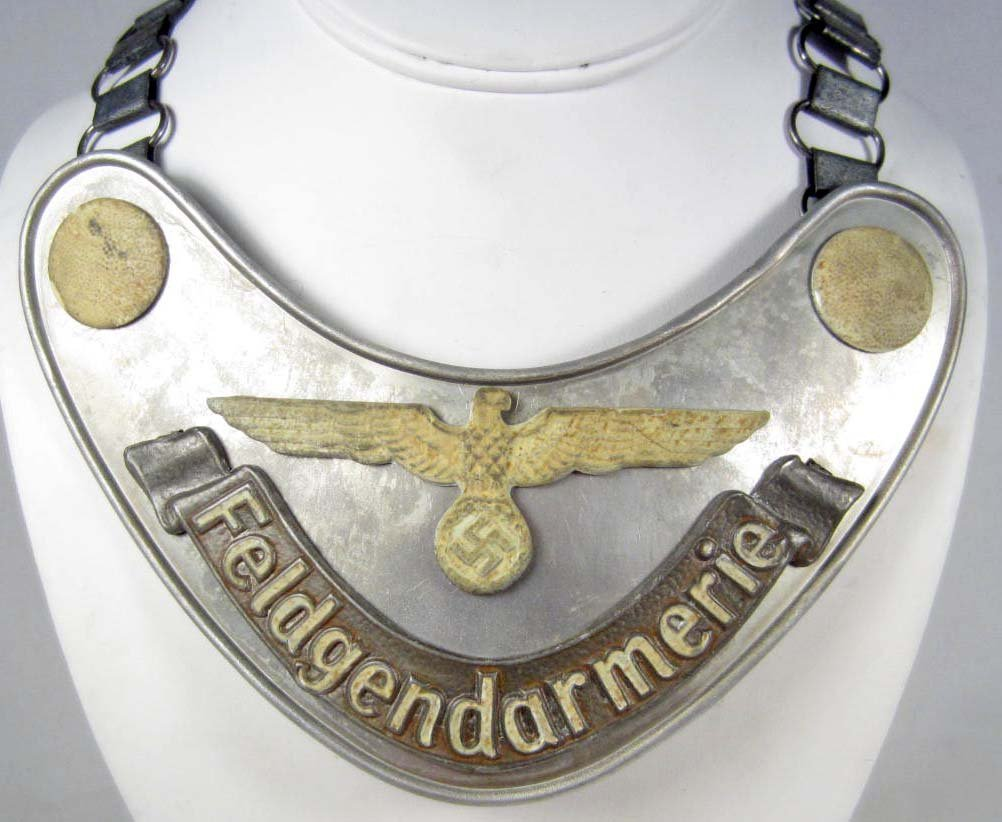 8: GERMAN NAZI FELDGENDARMERIE GORGET W/ CHAIN