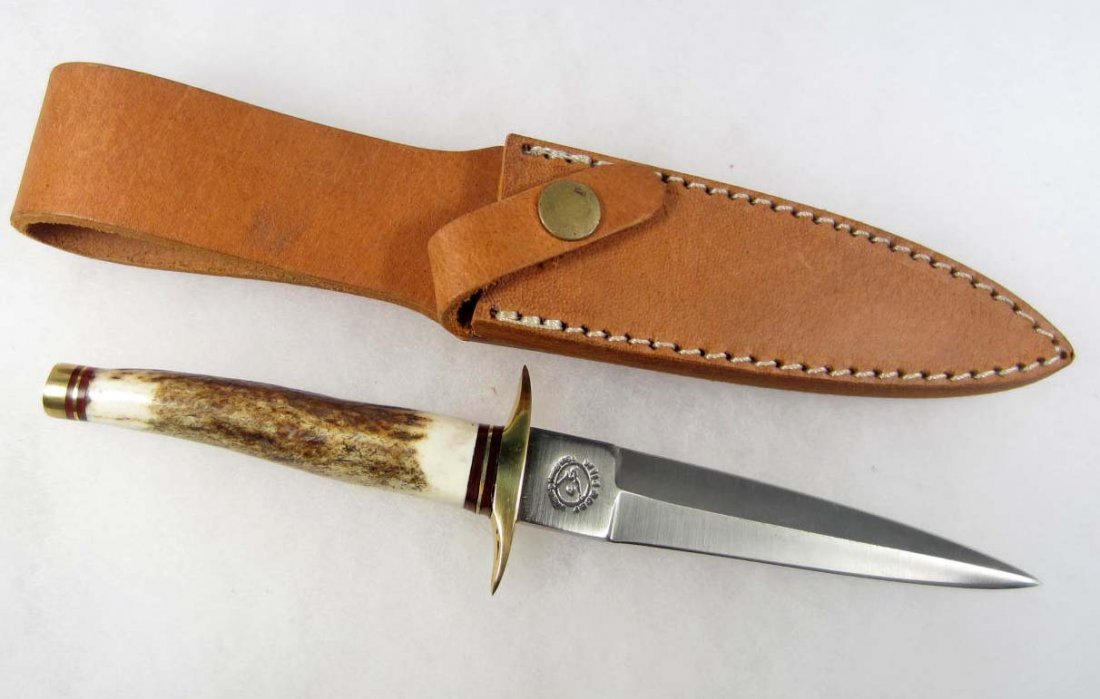 10: WILD BOAR BOOT KNIFE W/ STAG HANDLE AND SHEATH