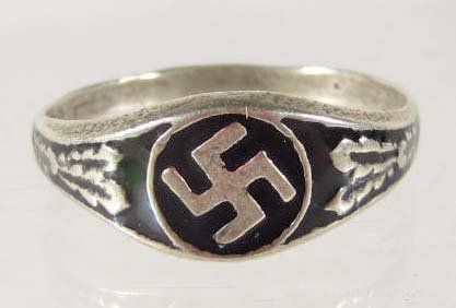 14: STERLING SILVER GERMAN NAZI ENAMELED NSDAP RING
