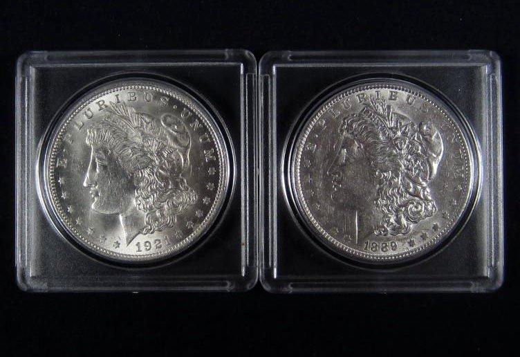 16: LOT OF 2 US MORGAN SILVER DOLLARS - 1889-P & 1921-P