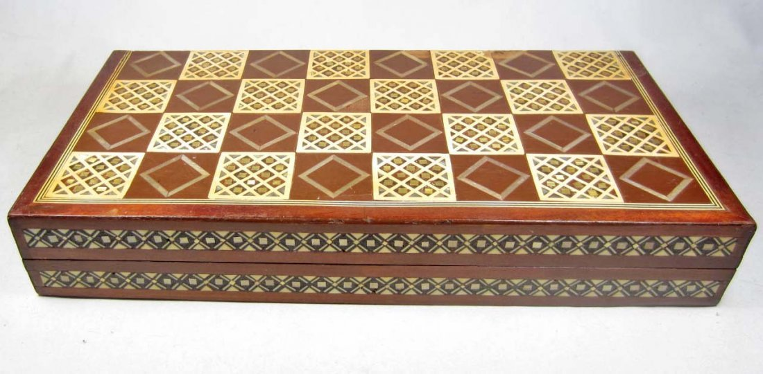 17: BEAUTIFUL INLAID WOODEN CHESS SET W/ CARVED IVORY A