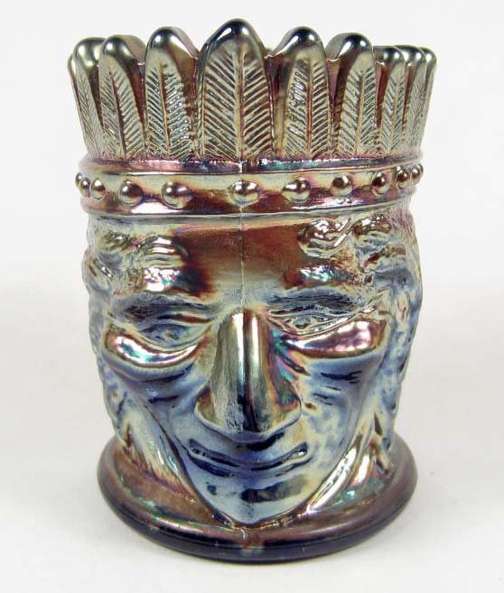 18: VINTAGE NATIVE AMERICAN INDIAN CHIEF CARNIVAL GLASS