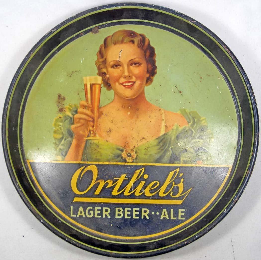 25: VINTAGE ORTLIEBS LAGER BEER ADVERTISING TRAY
