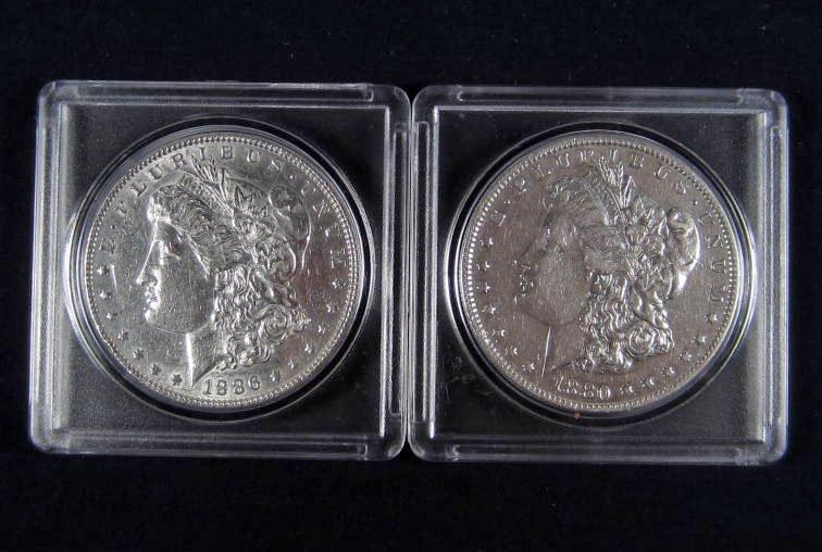 35: LOT OF 2 US MORGAN SILVER DOLLARS - 1880-P & 1886-P