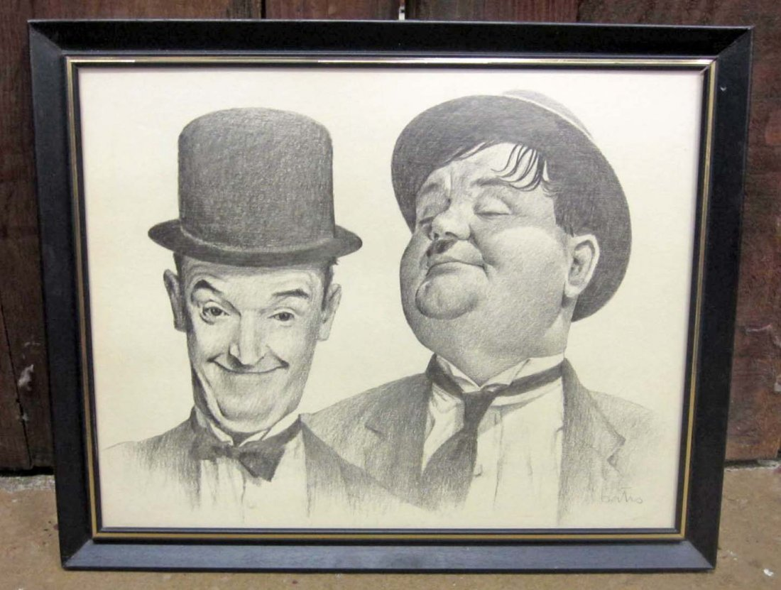 1: LAUREL & HARDY LITHOGRAPH PRINT - FRAMED