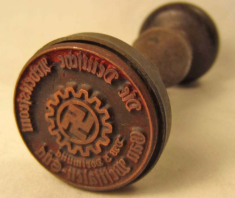 9: GERMAN NAZI WAX SEAL / RUBBER STAMP W/ WOOD HANDLE