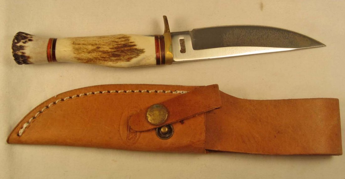 10: MARBLES HUNTING KNIFE W/ SHEATH & STAG HANDLE