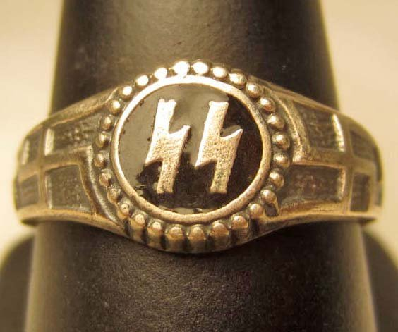 19: STERLING SILVER GERMAN NAZI SS ENAMELED RING