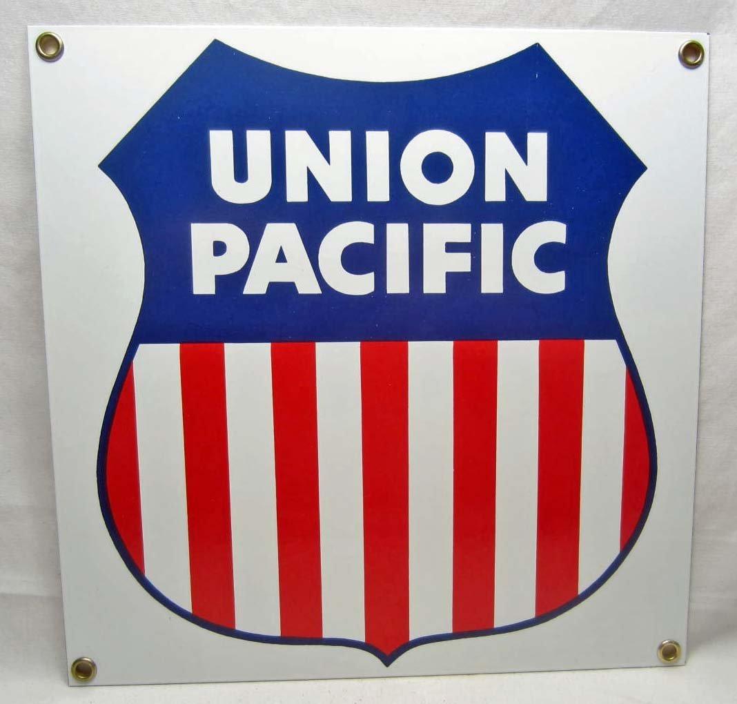 1: UNION PACIFIC RAILROAD PORCELAIN SIGN