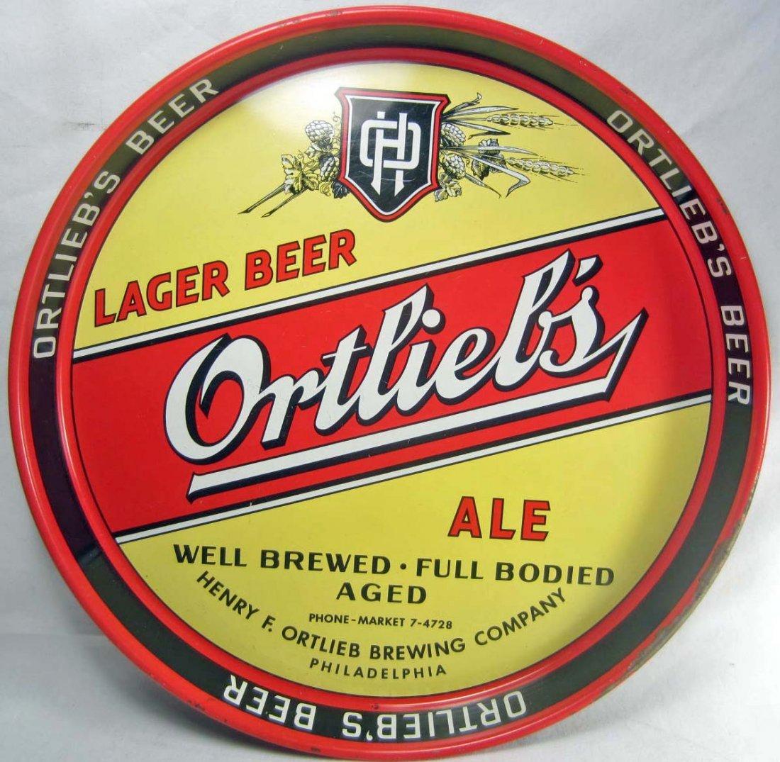 4: VINTAGE ORTLIEB'S LAGER BEER ADVERTISING TRAY
