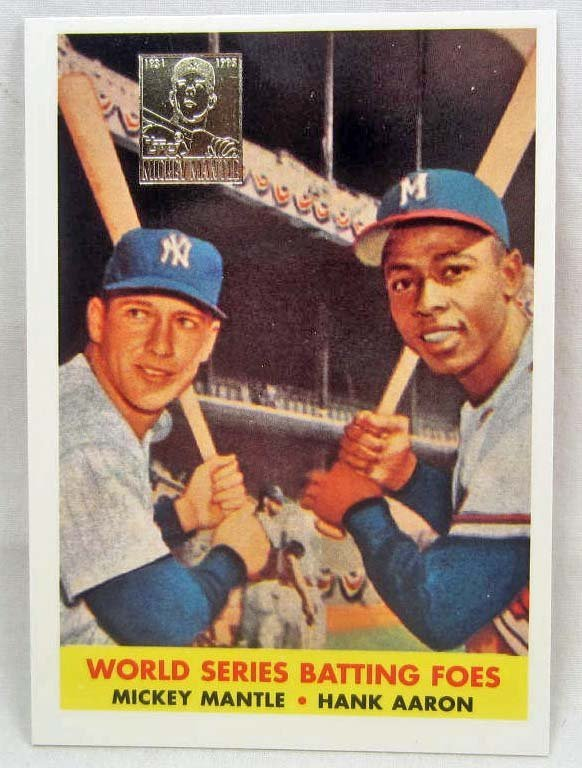 13: 1997 TOPPS INSERT MICKEY MANTLE AND HANK AARON BASE