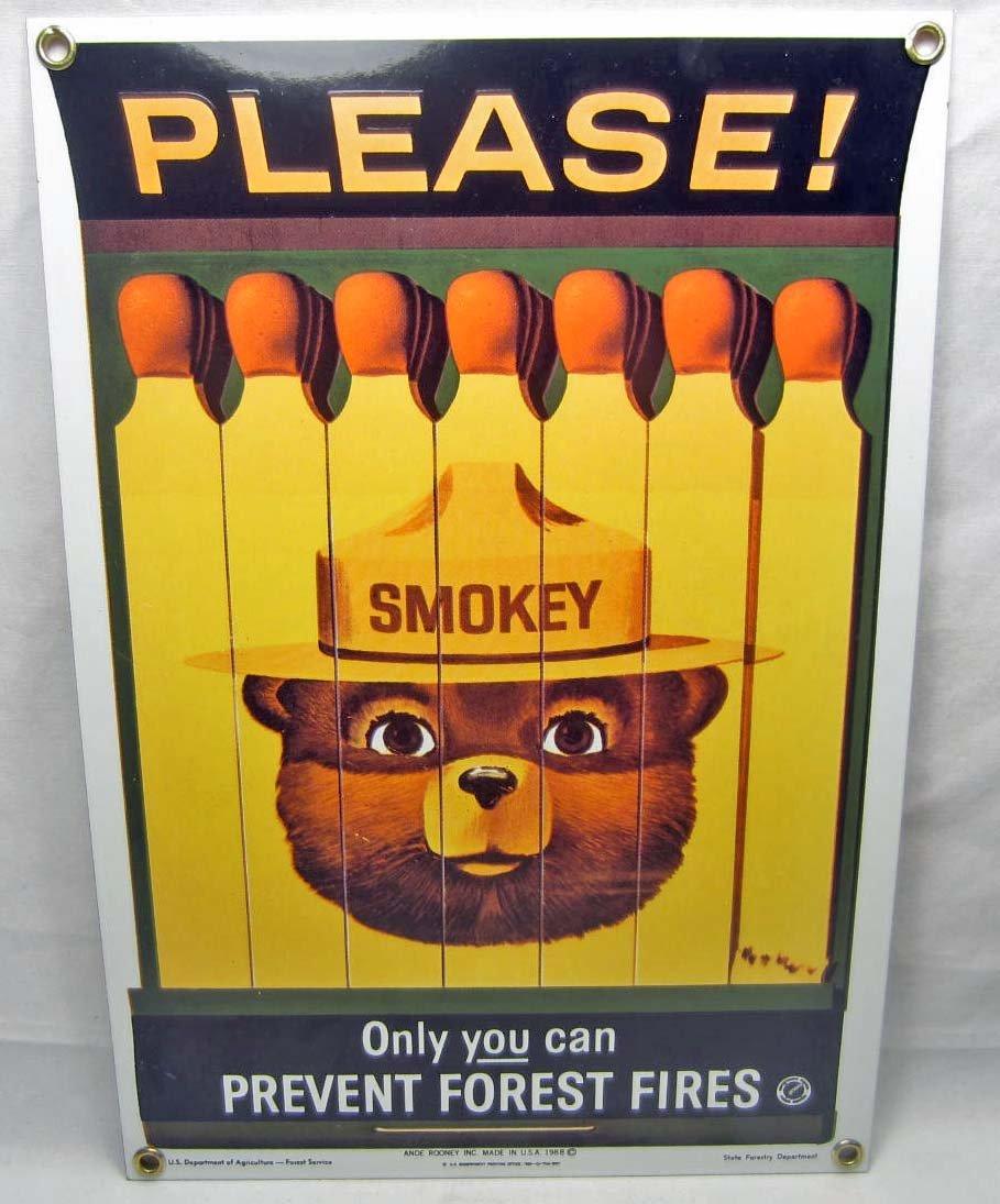 16: SMOKEY THE BEAR PORCELAIN SIGN