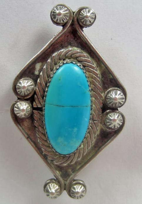 22: EARLY NATIVE AMERICAN INDIAN ZUNI SILVER AND TURQUO