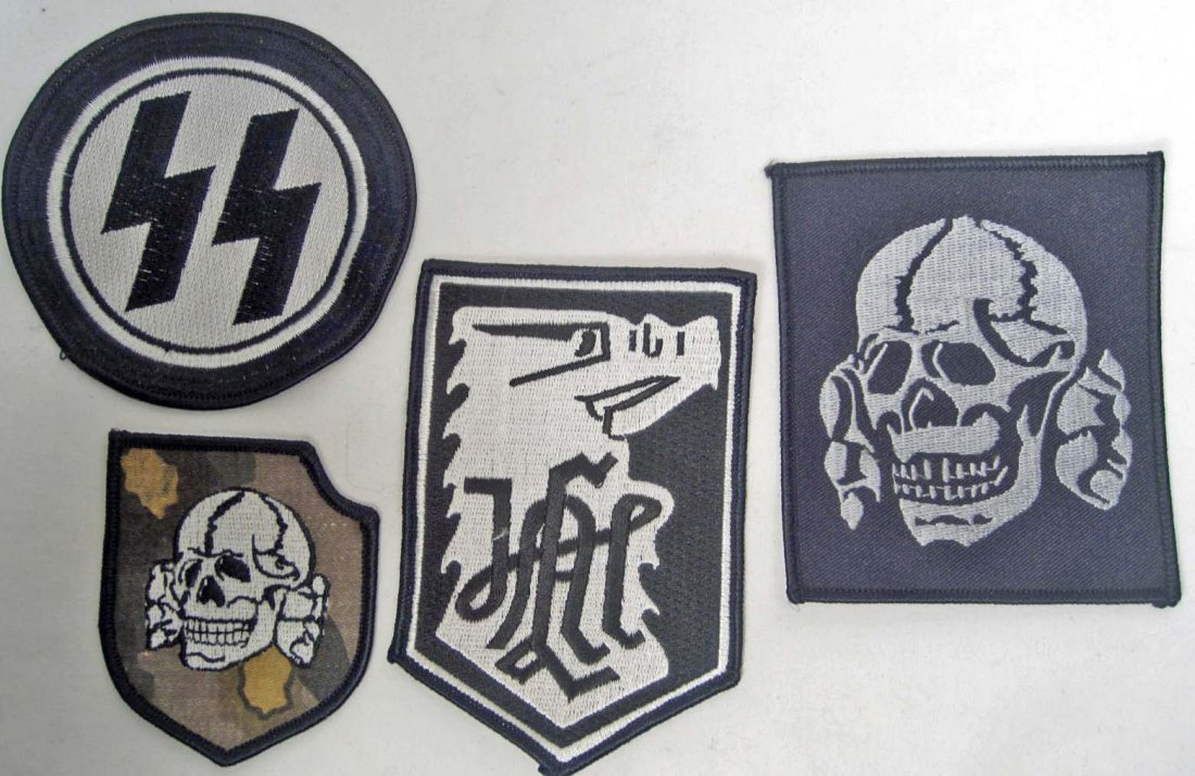 161: LOT OF 4 GERMAN NAZI WAFFEN SS UNIFORM PATCHES