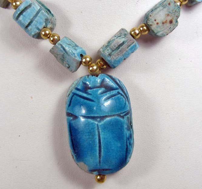 7: EGYPTIAN SCARAB POTTERY NECKLACE - HAND MADE