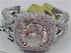 55: 14K WHITE GOLD LADIES DIAMOND RING - SIZE 7
