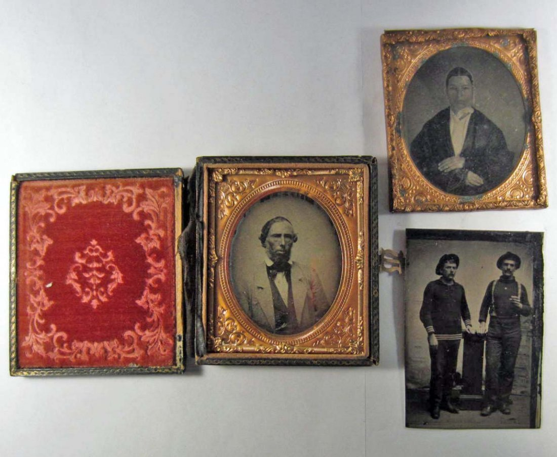 LOT OF 3 EARLY PHOTOS - TIN TYPE AND AMBROTYPE