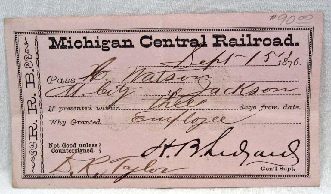 1876 MICHIGAN CENTRAL RAILROAD PASS