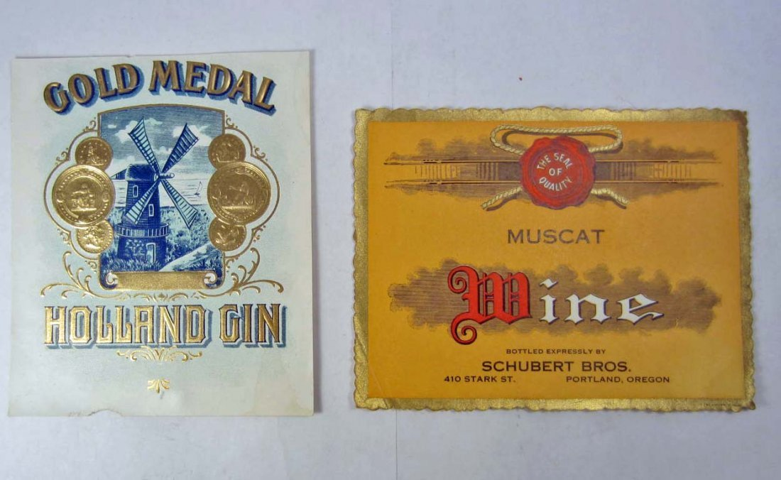 LOT OF 2 VINTAGE ALCOHOL LABELS - WINE & GIN