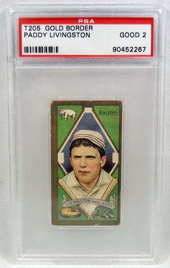 1911 T205 PADDY LIVINGSTON BASEBALL CARD - PSA GOOD 2