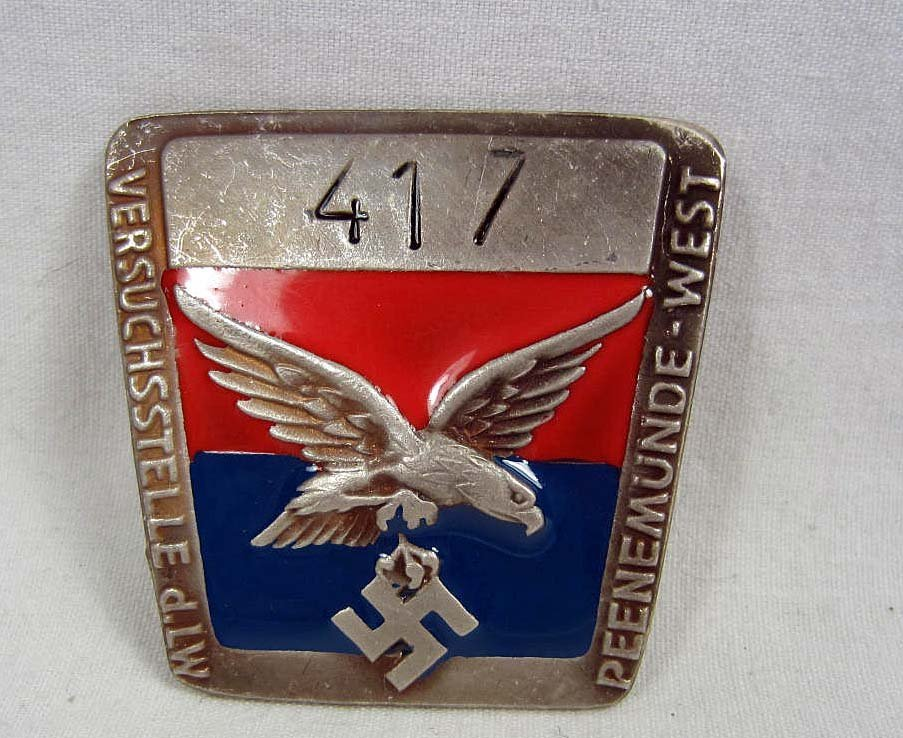 GERMAN NAZI ENAMELED PEENEMUNDE EMPLOYEE BADGE