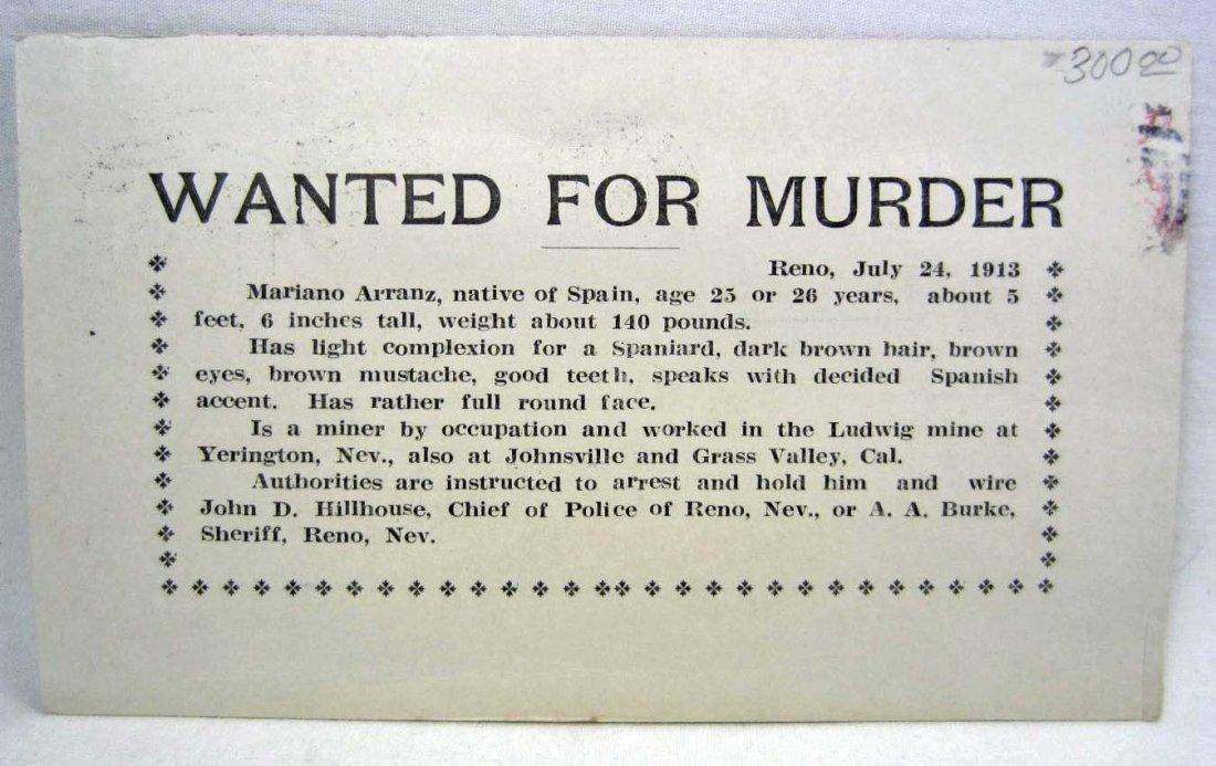 RARE 1913 WANTED FOR MURDER POSTCARD - RENO NEVADA - MI