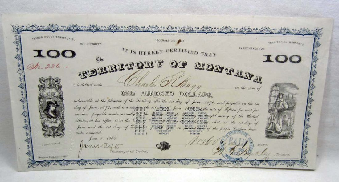 C. 1872 TERRITORY OF MONTANA 100 DOLLAR BOND CERTIFICAT