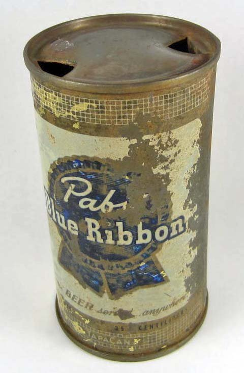 3103 - VINTAGE PABST BLUE RIBBON FLAT TOP BEER CAN