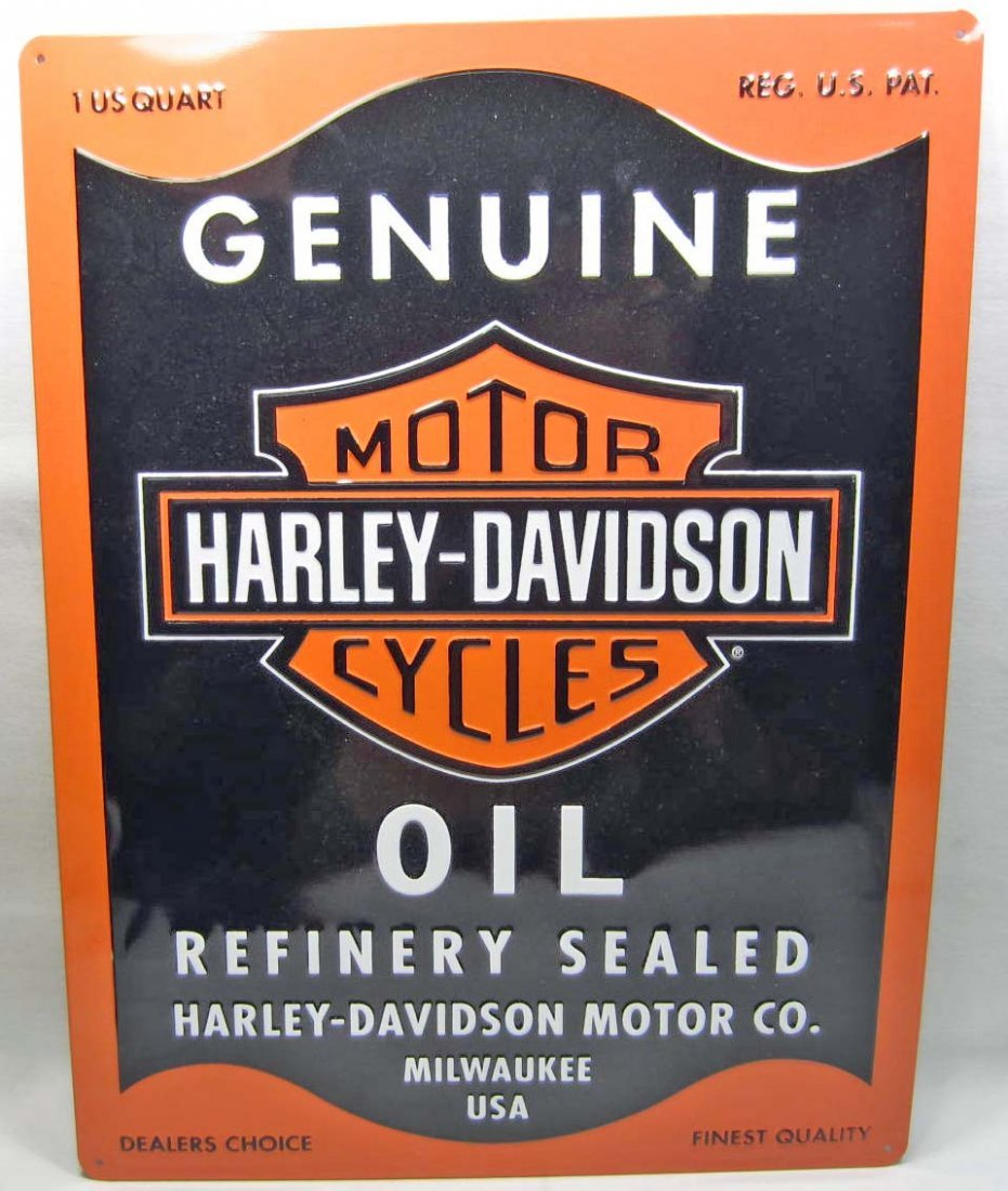"""HARLEY DAVIDSON OIL CAN EMBOSSED TIN SIGN - 13"""" X 17"""""""