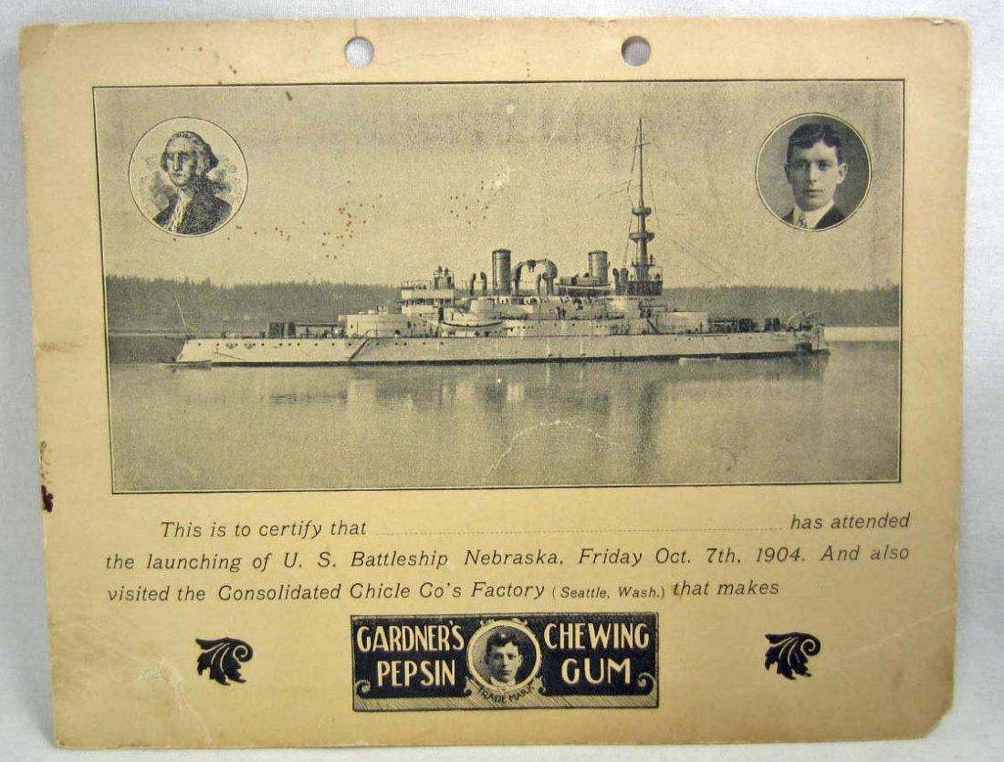 1904 US BATTLESHIP NEBRASKA LAUNCHING ATTENDANCE CERTIF