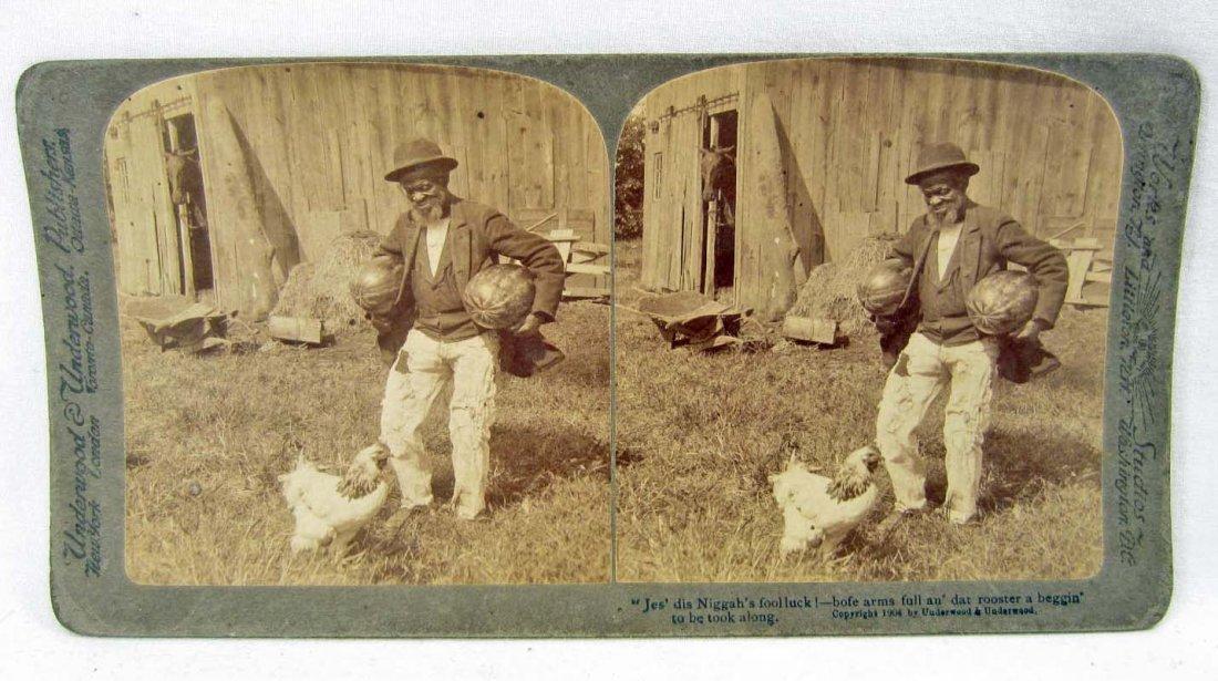 1904 BLACK AMERICANA STEREOVIEW PHOTO - MAN W/ WATERMEL