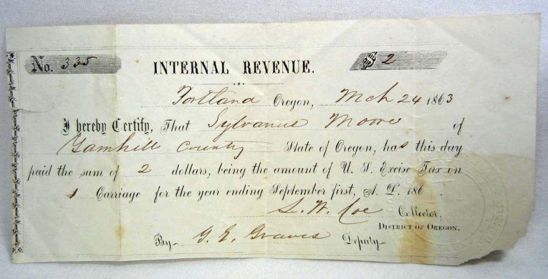 1863 CIVIL WAR ERA INTERNATIONAL REVENUE RECEIPT FOR CA