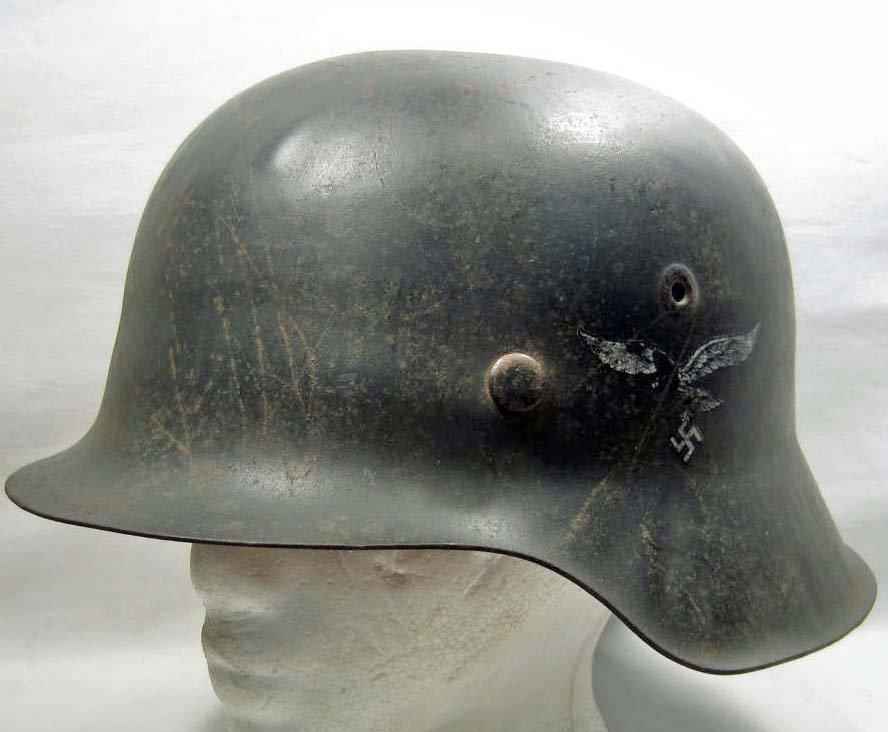 GERMAN NAZI LUFTWAFFE M-42 SINGLE DECAL COMBAT HELMET