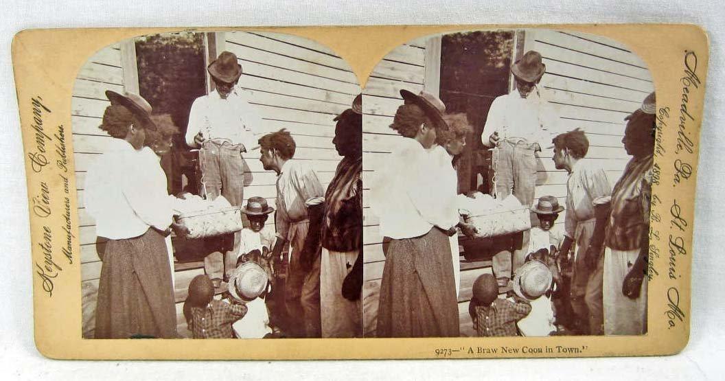 "1898 BLACK AMERICANA STEREOVIEW PHOTO - ""A BRAW NEW COO"