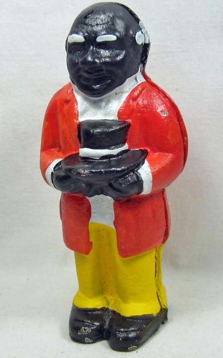 """CAST IRON BLACK AMERICANA UNCLE MOSES BANK - 5.25"""" TALL"""