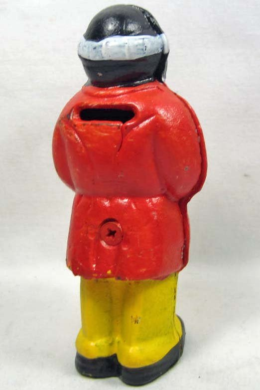 """CAST IRON BLACK AMERICANA UNCLE MOSES BANK - 5.25"""" TALL - 2"""