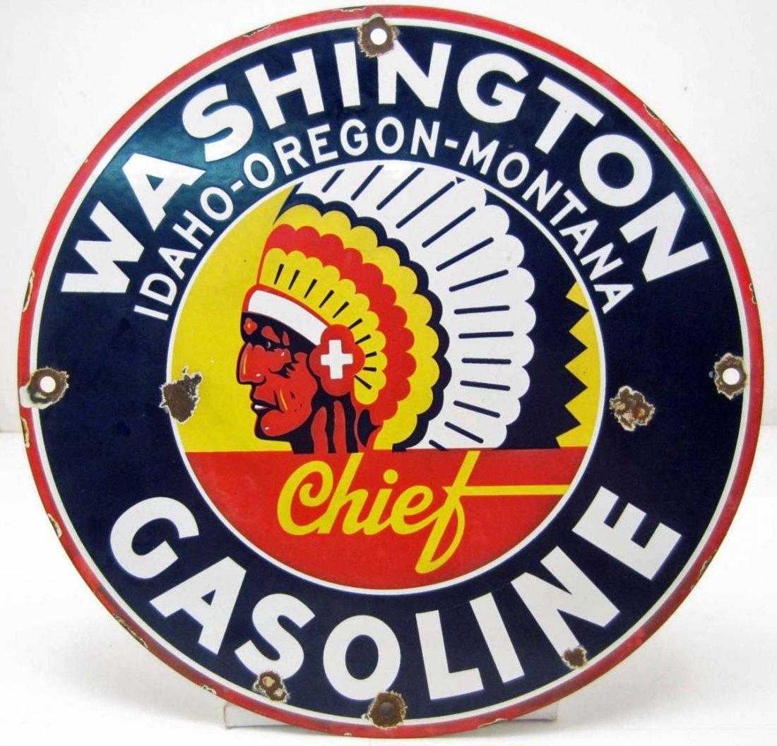 CHIEF WASHINGTON IDAHO OREGON MONTANA PORCELAIN GASOLIN
