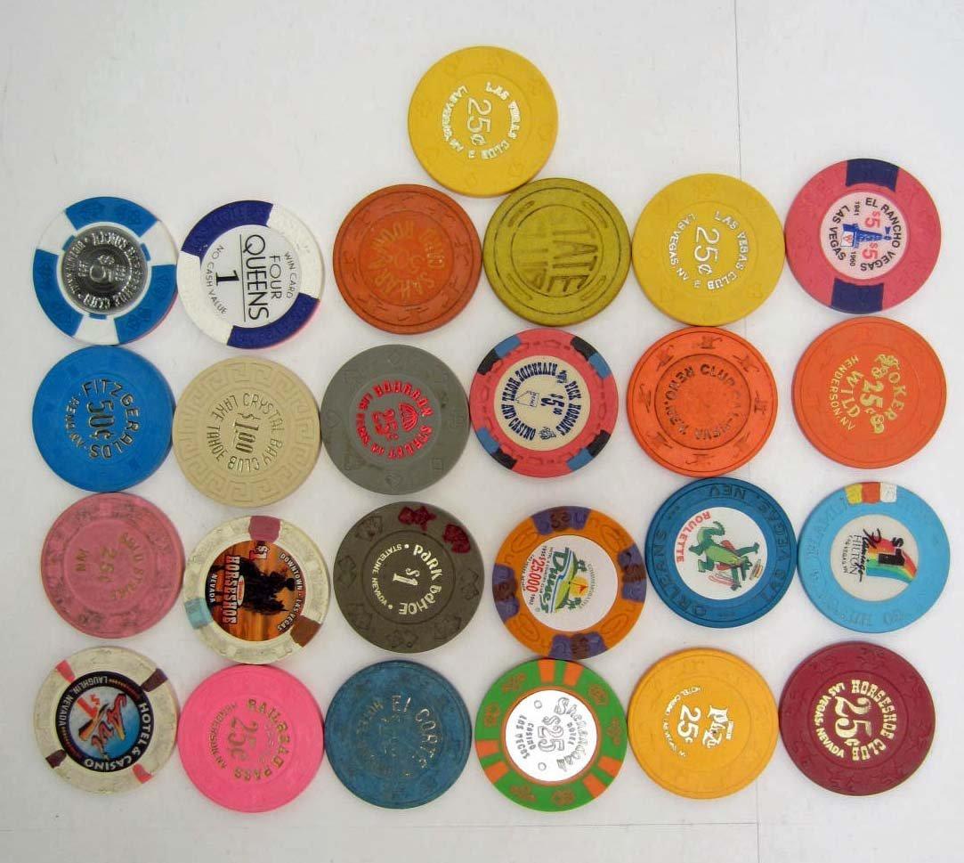 LOT OF 25 OBSOLETE NEVADA CASINO GAMBLING POKER CHIPS