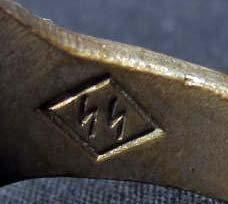 GERMAN NAZI WAFFEN SS OFFICER SKULL RING - 3