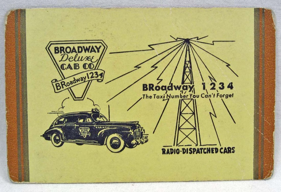 VINTAGE BROADWAY DELUXE CAB CO. ADVERTISING PLAYING CAR
