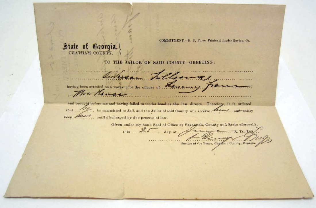 1894 STATE OF GEORGIA PRISON COMMITMENT PAPER - LARCENY